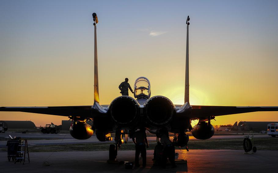 An F-15E Strike Eagle sits on the flight line at Incirlik Air Base, Turkey, Nov. 12, 2015. U.S. access to bases such as Incirlik may be limited if Washington imposes sanctions on Turkey.