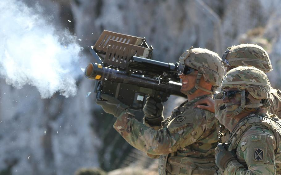 Spc. Matthew Williams, a cavalry scout assigned to 2nd Cavalry Regiment fires a Stinger missile using Man-Portable Air Defense Systems during Artemis Strike, a live fire exercise off the coast of Crete, Greece, in 2017.