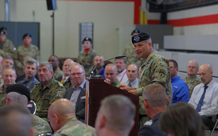 Lt. Gen. Christopher Cavoli, U.S. Army Europe commander, talks about the accomplishments of the 10th Army Air and Missile Defense Command at the unit's change of command ceremony at the Kleber Kaserne in Kaiserslautern, Germany, Aug. 7, 2019.