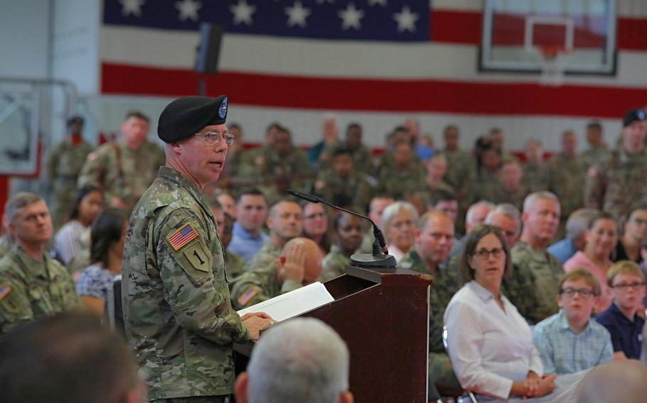 Brig. Gen. Gregory Brady talks about his history with the unit and the outgoing commander to soldiers, family and guests at the 10th Army Air and Missile Defense Command change of command ceremony at the Kleber Kaserne in Kaiserslautern, Germany, Aug. 7, 2019.