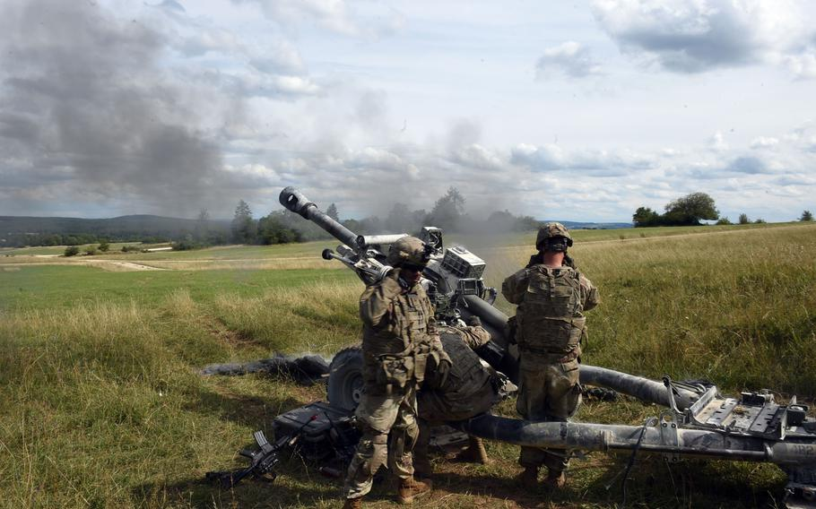 Soldiers fire a 105mm M119-A3 Howitzer during an exercise in Grafenwoehr, Germany, Aug. 13, 2019.
