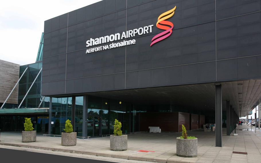 Passengers onboard the Defense Department-contracted Omni Air International flight 531 were evacuated from the plane at Shannon Airport, Ireland, due to a fire coming from the left landing gear, on Thursday, Aug. 15, 2019.