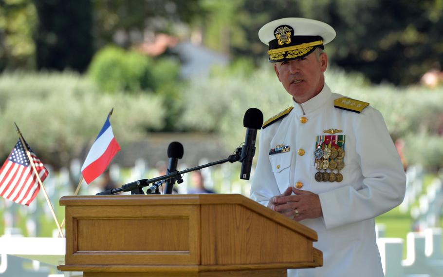 Rear Adm. Matthew Zirkle, U.S. Naval Forces Europe chief of staff, delivers remarks at the ceremony marking the 75th anniversary of Operation Dragoon at Rhone American Cemetery in Draguignan, France, Friday, Aug. 16, 2019.