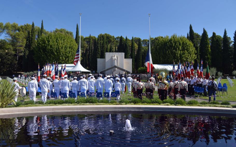 A ceremony is held Friday, Aug. 16, 2019 at the Rhone American Cemetery to mark the 75th anniversary of World War II?s Operation Dragoon in southern France.