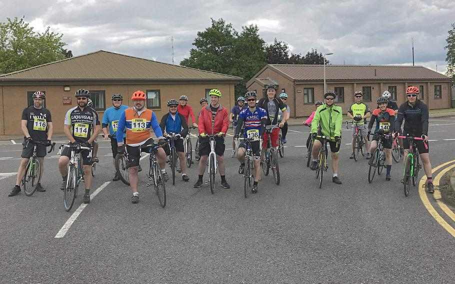 Cyclists who took part in a 24-hour ride on the flight line at RAF Lakenheath to raise awareness of suicide on Saturday, June 16, 2019.