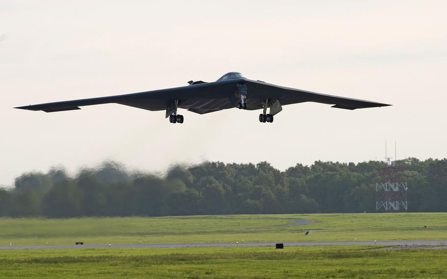A B-2 Spirit stealth bomber takes off from Whiteman Air Force Base, Mo., in July 2019. B-2 Spirits from Whiteman's 509th Bomb Wing, along with equipment and personnel,  arrived at RAF Fairford, England, Tuesday, Aug. 27, 2019, to train with allies in Europe.