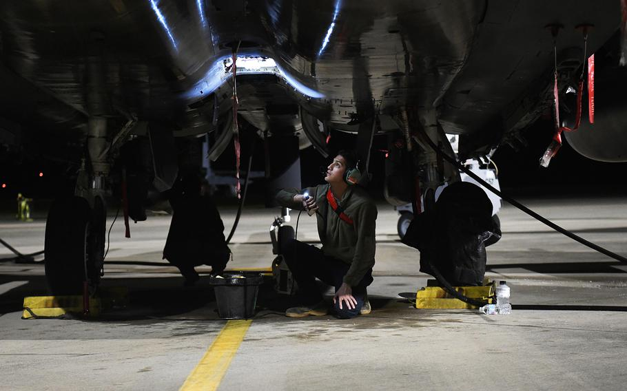 A 494th Aircraft Maintenance Unit crew chief inspects the underbelly of an F-15E Strike Eagle assigned to the 494th Fighter Squadron during exercise Checkered Flag at Tyndall Air Force Base, Fla., May 7, 2019. The Lakenheath, England-based squadron received the Raytheon Trophy Aug. 31 in recognition of its overall performance and its Middle East deployment last year.