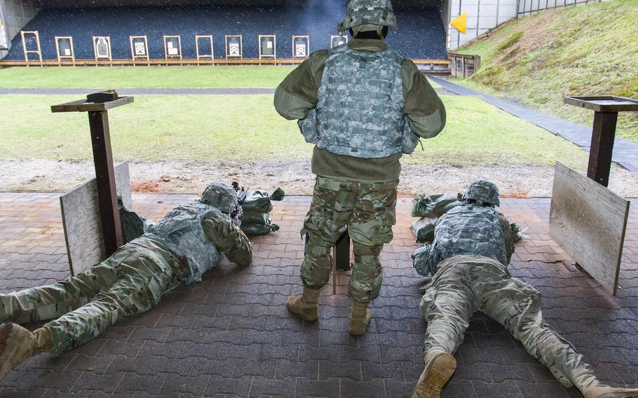 Members of the 18th Military Police Brigade practice shooting on the 25-meter range in Breitenwald Training Area in Landstuhl, Germany, in 2018. Some U.S. Army ranges in Europe will need to be modified in order to meet new, more demanding marksmanship training requirements for soldiers.