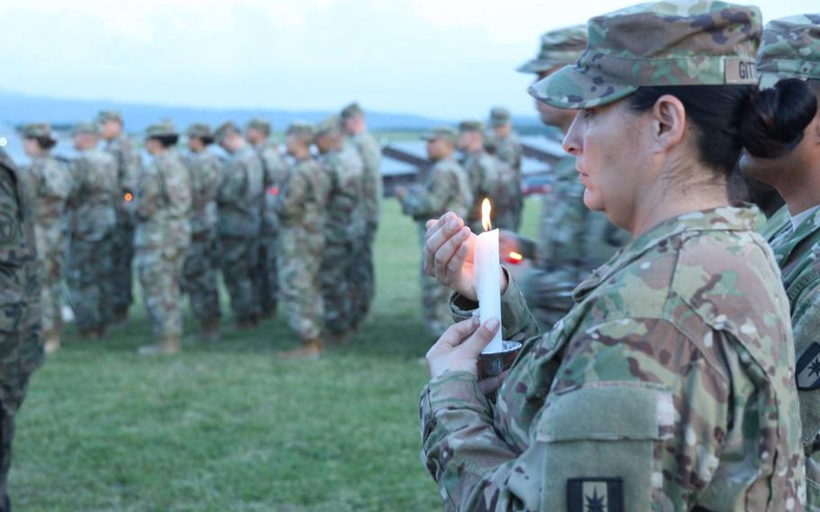 Staff Sgt. Conrad Robinson is honored with a memorial service May 28, 2018, at Camp Bondsteel, Kosovo.
