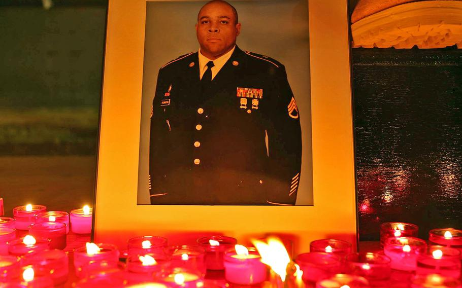 Staff Sgt. Conrad Robinson was honored with a memorial service and candlelight vigil at Camp Bondsteel, Kosovo, on Memorial Day 2018.