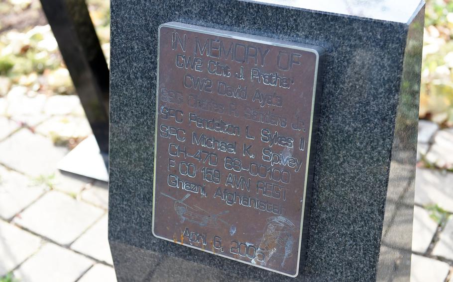 The memorial to the crew who lost their lives at the Windy 25 flight over Ghazni, Afghanistan, in 2005, on display in Ansbach, Germany, Sept. 6, 2019.