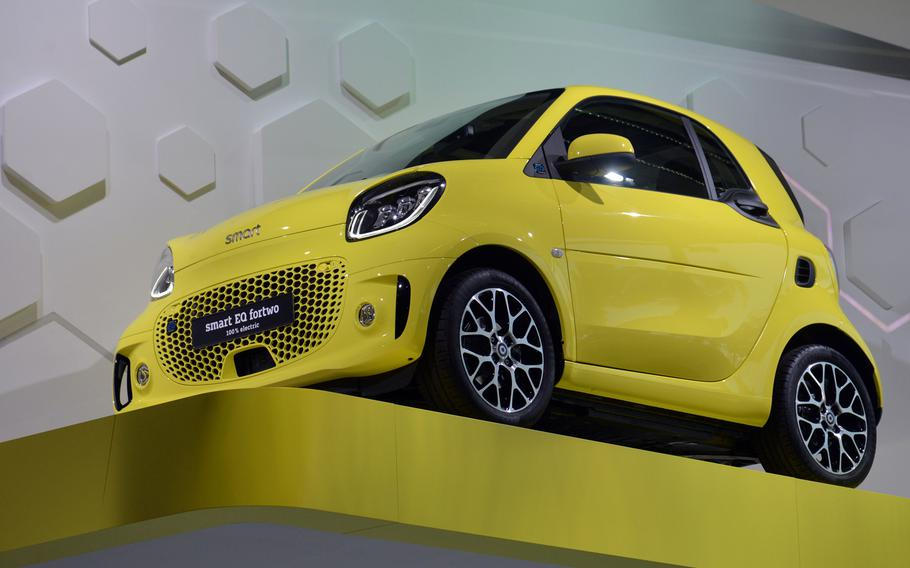 A Smart EQ fourtwo electric car at the IAA in Frankfurt. The company ismoving to an all-electric fleet by next year.