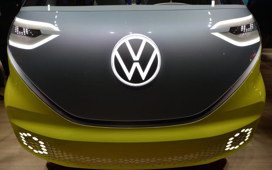 Face-to-face with a VW ID.Buzz concept bus at the IAA in Frankfurt. Volswagen has been teasing bus fans for years with a new model and this electric version might go in to production.
