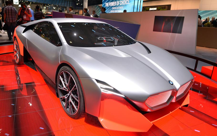 The BMW Vision M NEXT concept car on display at the IAA in Frankfurt. An electric sports car, it is expected to replace the company's i8 model.