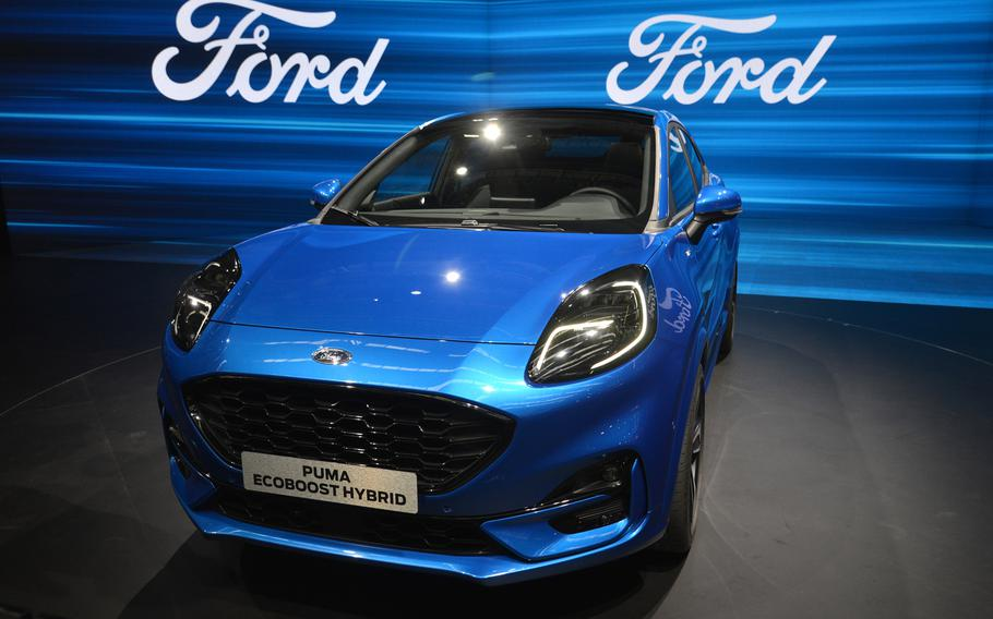 Ford has a line of hybrid cars on display at the IAA in Frankfurt, including the hybrid version of the Puma.