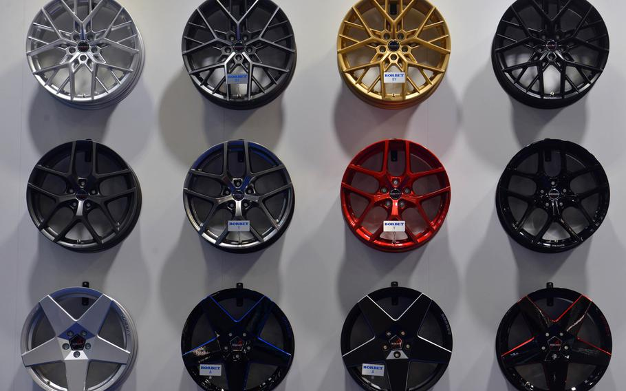 Not only are there cars on display at the IAA, the international car show in Frankfurt, Germany, but also accessories like this selection of alloy wheels from Borbet.