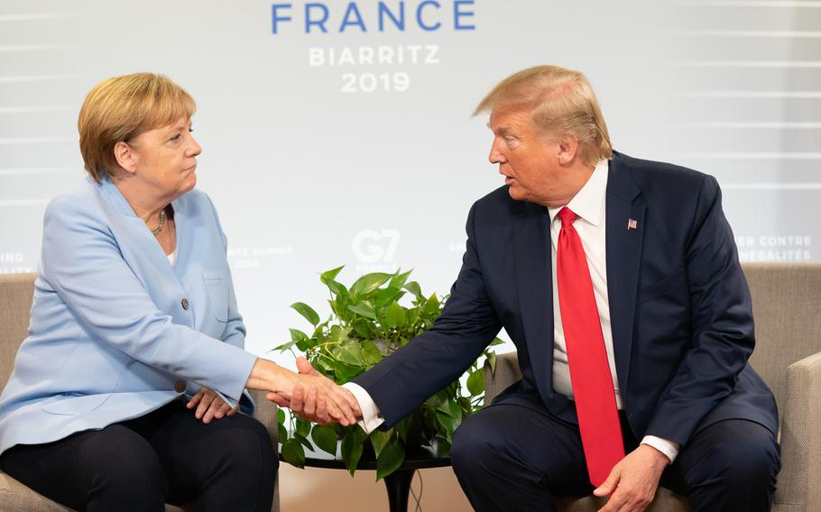 President Donald Trump participates in a bilateral meeting with German Chancellor Angela Merkel on Aug. 26, 2019, in Biarritz, France. A survey conducted by the European Council on Foreign Relations shows that Europeans want to remain neutral in the event of a conflict between the U.S. and Russia.