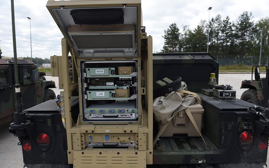 New PoP/SNE communications equipment, mounted on the back of a Humvee, is used by the 173rd Airborne Brigade during Exercise Saber Junction on Friday, Sept. 13, 2019, at Grafenwoehr, Germany.
