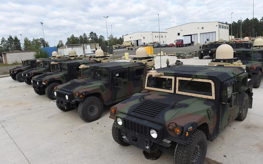 The 173rd Airborne Brigade's new PoP/SME communications equipment, mounted on the back of Humvees during Exercise Saber Junction, Friday, Sept. 13, 2019, at Grafenwoehr, Germany, gives soldiers more room on the vehicles to carry food and other supplies.