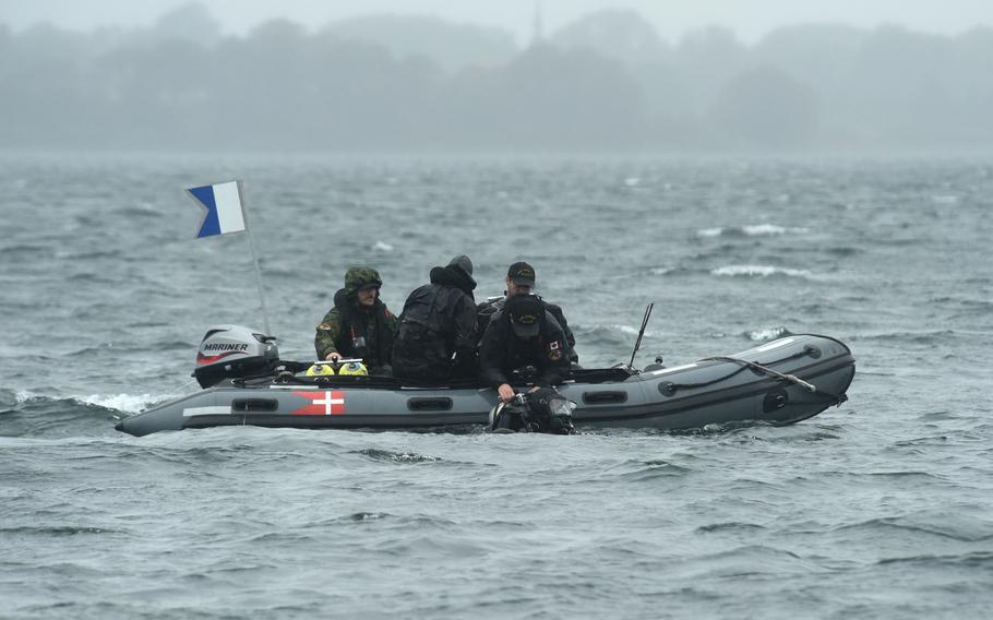 Clearance divers from the Royal Canadian Navy's Fleet Diving Unit Atlantic conduct mine clearance operations during exercise Northern Coasts in Nyborg, Denmark, on Tuesday, Sept. 10, 2019.