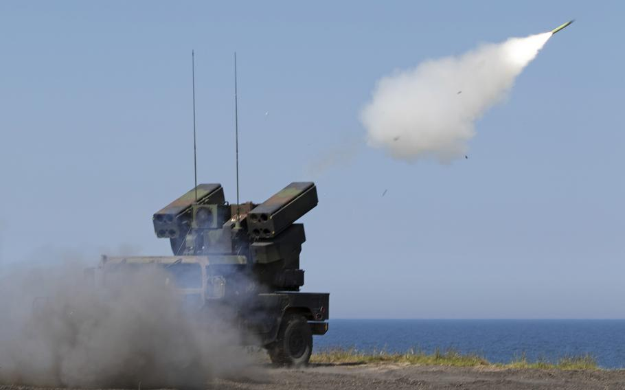 An AN/TWQ-1 Avenger missile system from Battery C, 1st Battalion, 174th Air Defense Artillery Regiment, fires a  missile at a moving target as part of a short-range air defense exercise in Utska, Poland, on June 17, 2019.  A report by the Association of the U.S. Army's Institute of Land Warfare warns that a capability gap between the U.S. and its allies could derail a strategy for fighting future wars.