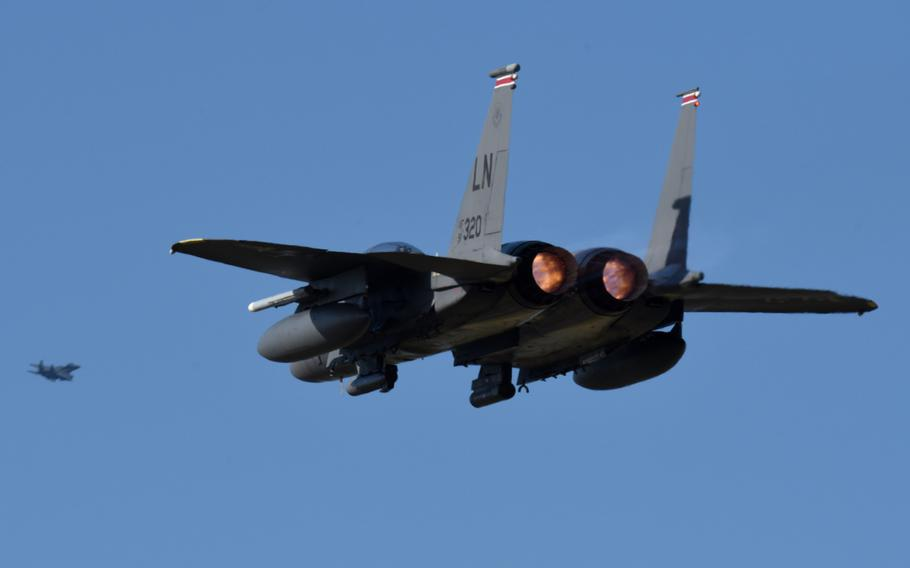 An F-15E Strike Eagle, assigned to the 494th Fighter Squadron, launches in support of an inter-fighter squadron ''turkey shoot'' competition at RAF Lakenheath, England, Sept. 26, 2019.