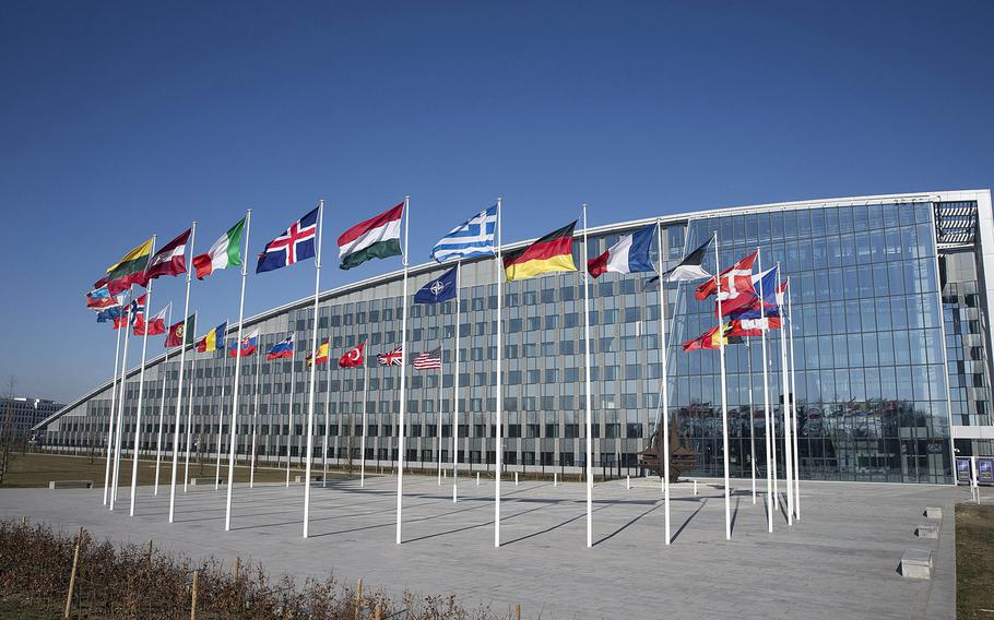 A view of  NATO headquarters in Brussels, Belgium. Turkey's fight against U.S.-backed Kurds in Syria has led lawmakers to question whether the country should be suspended or removed from NATO, but no mechanism exists to do that.