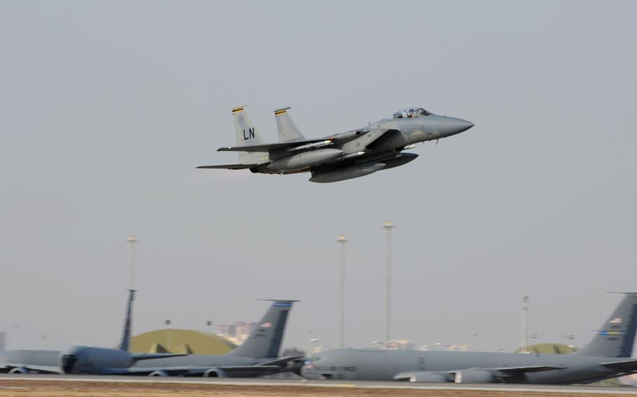 A U.S. Air Force F-15C Eagle takes off from Incirlik Air Base, Turkey. The U.S. is reviewing plans to evacuate tactical nuclear weapons stored at the base, though no decision has yet been made, according to U.S. officials cited in a media report.