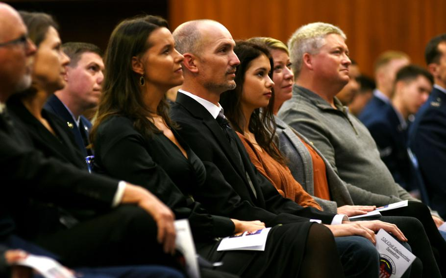 Family members of Airman 1st Class Bradley Reese Haile sit in the front row during a memorial service for Haile and Airman 1st Class Jacob A. Blackburn on Tuesday, Oct. 22, 2019, at Spangdahlem Air Base, Germany. Haile and Blackburn were killed last month in a car crash.
