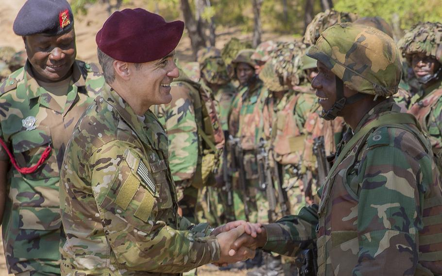 U.S. Africa Command Senior Enlisted Leader Command Chief Master Sgt. Ramon Colon-Lopez congratulates Malawi soldiers on graduating the Malawi Battalion Training Course in Malawi, Africa, May 31, 2018. Colon-Lopez has been named as the next senior enlisted adviser to the chairman of the Joint Chiefs of Staff.