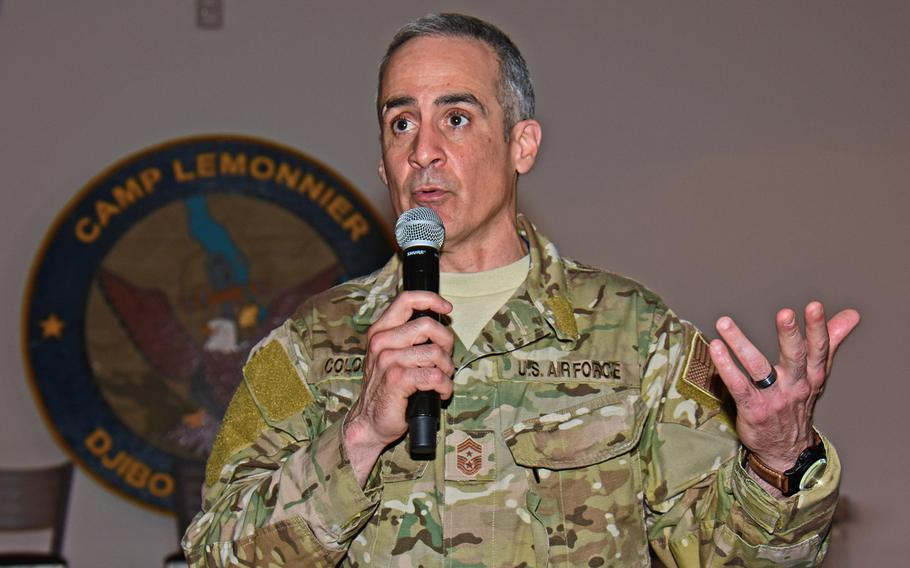 U.S. Africa Command Command Chief Master Sgt. Ramon Colon-Lopez speaks to service members assigned to Combined Joint Task Force-Horn of Africa at Camp Lemonnier, Djibouti, April 27, 2017. Colon-Lopez has been named as the next senior enlisted adviser to the chairman of the Joint Chiefs of Staff.