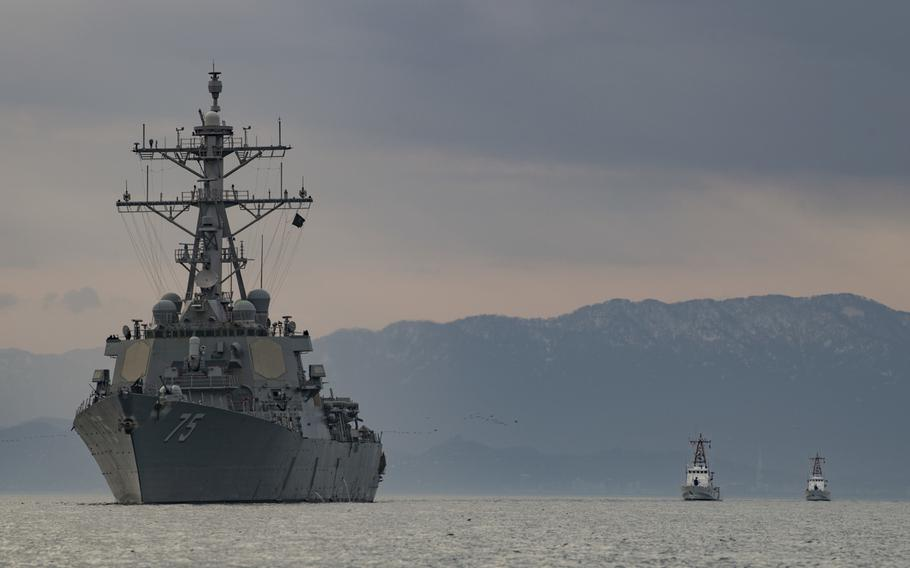 The USS Donald Cook sails alongside Georgian coast guard ships in the Black Sea, Jan. 25, 2019.   Ford Williams/U.S. Navy