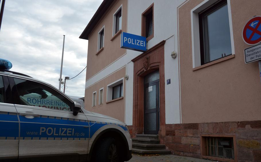 Police were called when an airman was found sleeping in a parked car on Am Berg in Landstuhl, Germany, Nov. 9, 2019. The airman, who was inebriated and erroneously thought the car was his, was detained by German law enforcement officers and handed over to U.S. military police.