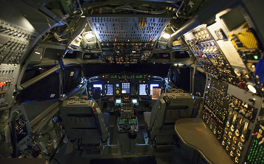 The NATO AWACS aircraft has an updated cockpit and avionics systems that includes five full-color displays providing crew members with customizable engine, navigation and radar data.