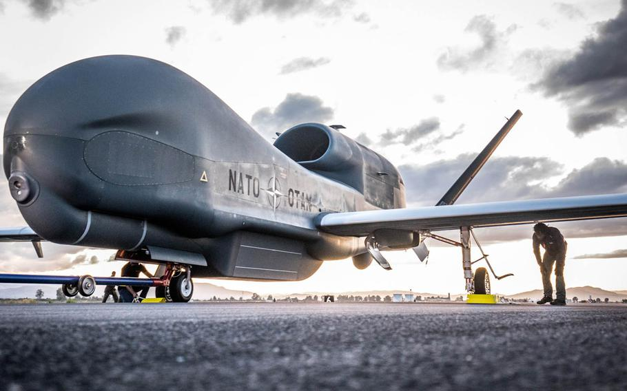 NATO's first Alliance Ground Surveillance aircraft arrived in Sigonella, Italy, Nov. 21, 2019, after completing a 22-hour test flight from Palmdale Air Base, Calif.