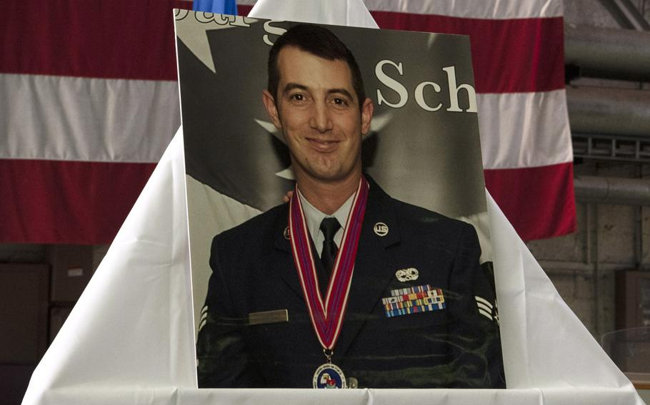Spangdahlem Air Base holds a memorial ceremony for Staff Sgt. Tyler Mayfield, 52nd Aircraft Maintenance Squadron dedicated crew chief, at Hangar1, Nov. 24, 2019. Mayfield died following a car accident while traveling to his next duty location.
