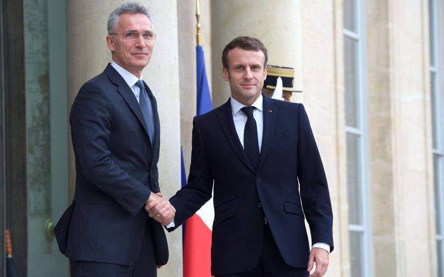 NATO Secretary-General Jens Stoltenberg meets with French President Emmanuel Macron in Paris on Nov. 28, 2019. NATO leaders, including President Donald Trump, will be meeting outside of London at a time when major alliance powers are at odds over the alliance's priorities.