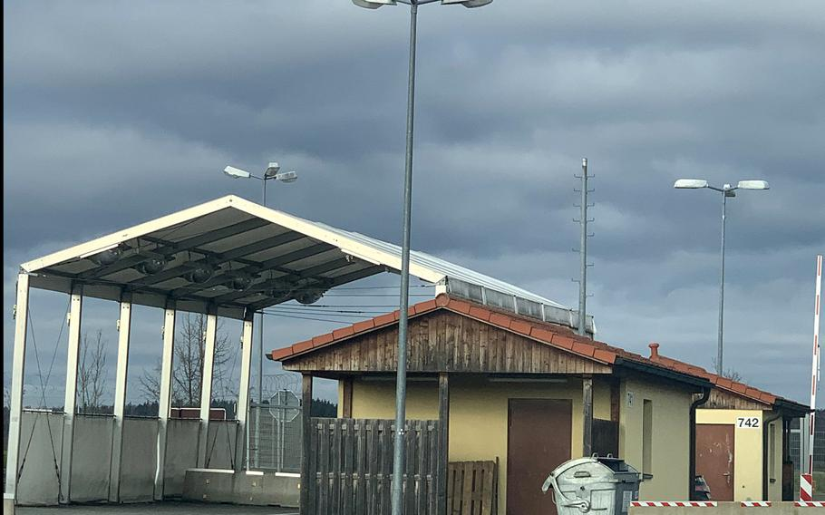 The main gate on Vilseck Army Base, Germany, on Dec. 2, 2019. Three soldiers traveling from Regensburg to Vilseck are accused of doing a runner to avoid paying a hefty taxi fare on Thanksgiving Day.