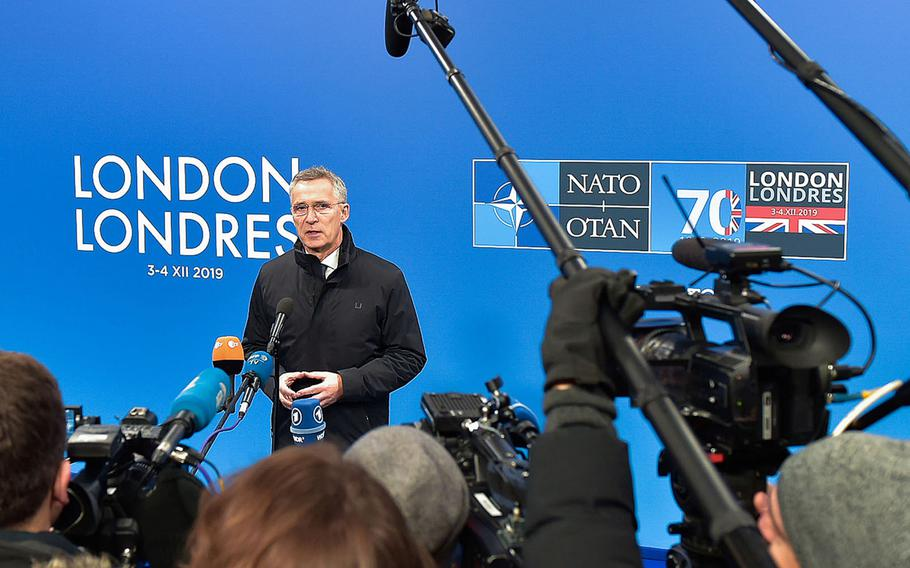 NATO Secretary-General Jens Stoltenberg talks to the media before the start of the NATO leaders meeting Wednesday, Dec. 3, 2019.