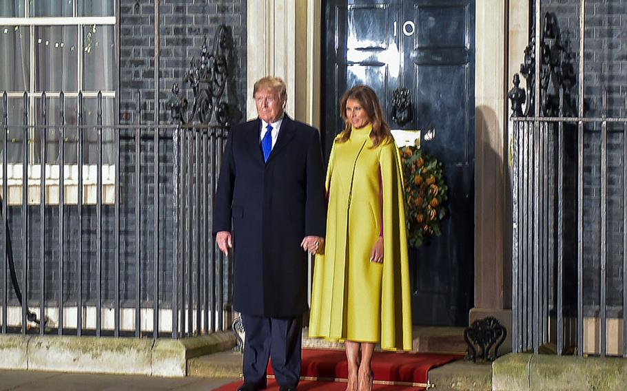 U.S. President Donald Trump and first lady Melania Trump arrive at 10 Downing St. for an informal dinner hosted by British Prime Minister Boris Johnson, Tuesday, Dec. 3, 2019.