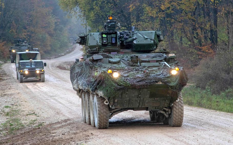 A Stryker armored vehicle from 1st Squadron, 2nd Cavalry Regiment, moves to a forward position during the Dragoon Ready exercise in Hohenfels, Germany, Nov. 3, 2019. Strykers in Europe will be equipped with anti-jamming systems next year, the Army said.