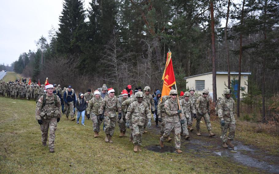 Soldiers march in a toy delivery event at Grafenwoehr, Germany, on Dec. 12, 2019. The soldiers will provide toys to children living at Haus St. Elisabeth in Windischeschenbach, Germany.