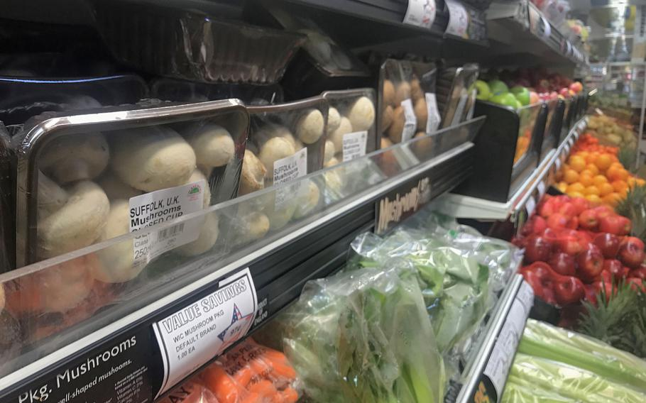 Fresh produce sits ready for customers at RAF Mildenhall's commissary, Oct. 17, 2019. Analysts say fresh food prices may go up in Britain following an exit from the European Union, but commissary officials expect minimal impact to their stocks.