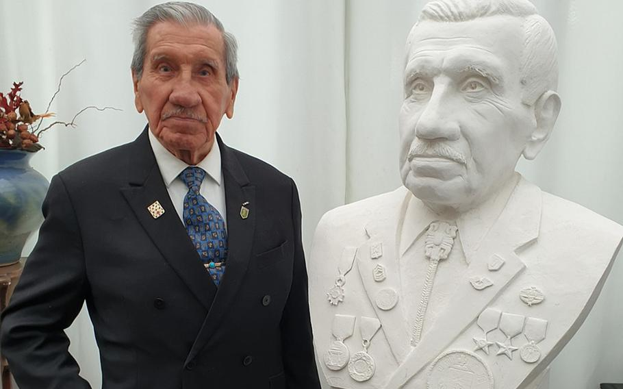 A fundraising effort has been launched to sculpt a bronze bust of D-Day veteran Charles Shay. The sculpture would be placed at an existing memorial to Native Americans later this year at Omaha Beach.