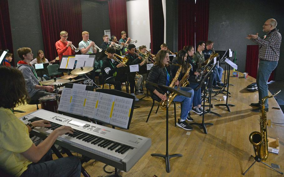 Guest conductor Darmon Meader leads the DODEA-Europe Jazz Festival big band through a rehearsal in Kaiserslautern, Germany, Jan. 14, 2020. Fifty-one students from high schools across Europe are taking part in the event this year.