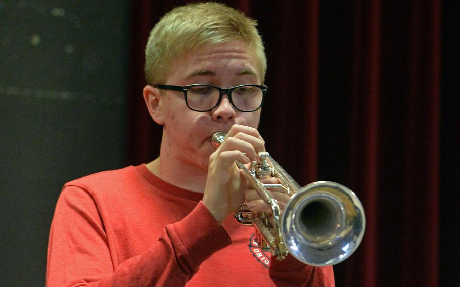 Blake Peterson solos on trumpet during a big band rehearsal at the 2020 DODEA-Europe Jazz Festival in Kaiserslautern, Germany, Jan. 14, 2020.