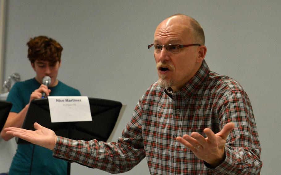 Darmon Meader, conducts the vocal jazz ensemble during a rehearsal at the 2020 DODEA-Europe Jazz Festival in Kaiserslautern, Germany, Jan. 14, 2020.