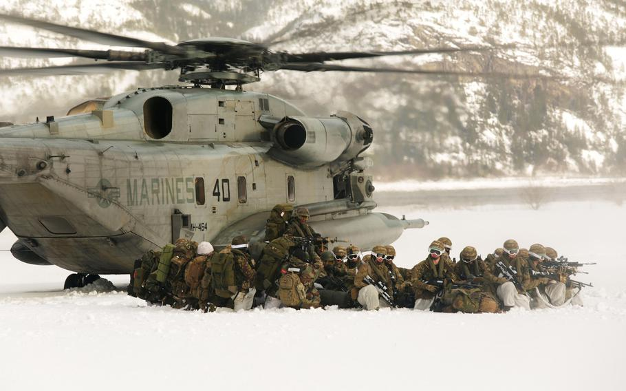 Marines support NATO allies and partners in the Namsos fjord, Norway, during Exercise Cold Response in 2016. About 7,500 American troops will take part in Cold Response this year, about 3,000 less than originally planned.