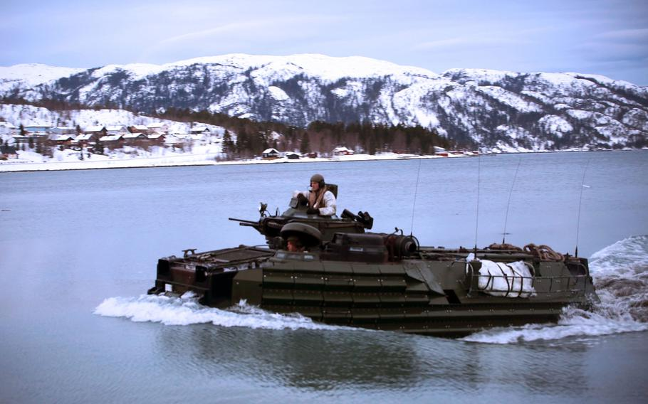 Marines with 2nd Assault Amphibian Battalion storm a fjord in Namsos, Norway, in March 2016, during Exercise Cold Response16. About 7,500 American troops will take part in Cold Response this year, about 3,000 less than originally planned.