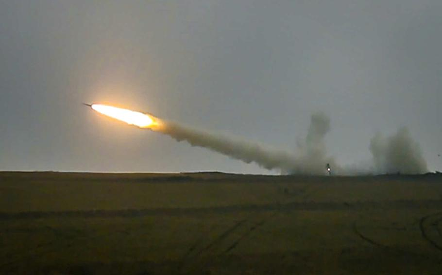 The M270A1 Multiple Launch Rocket System fires a reduced- range practice rocket during a live-fire exercise Jan. 27, 2020, in Grafenwoehr, Germany. This is the first live-fire exercise from a Europe-based MLRS unit since 2004.
